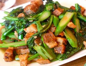 Crispy Pork with Chinese Broccoli | Monorom Cambodian Restaurant