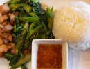 Crispy Pork with Chinese Broccoli and Rice